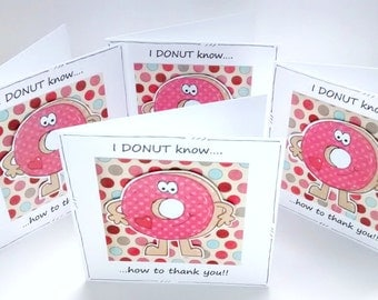 Thank You Notecard Set - Donuts - Mini Notecards - Handcrafted - Baking Cakes Pun Cards
