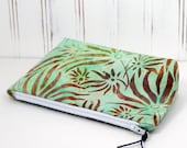 makeup bag cosmetic pouch zipper case Mint green with leaves