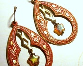 Burnt Orange Brass Bohemian Hoop Earrings with Frosted Glass Star Accents