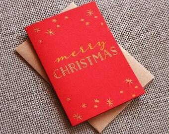 Holiday Christmas Card - Xmas Sparkle - Gold Foil