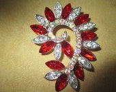 Vintage costume jewelry   /  red and clear rhinestone brooch just reduced was 9.99 now 8.99