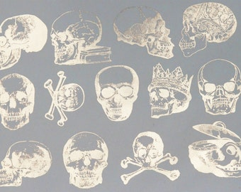 Vintage Skull Decals, Glass Fusing Decals, Waterslide Decals, Ceramic Transfers