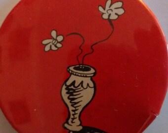 Funky dr Seuss pin button badge 90s flower floral boho