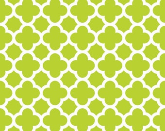 Lime Quatrefoil Fabric - Lime Quatre Foil by Riley Blake Designs - Lime Green - by the Yard - 1 Yard