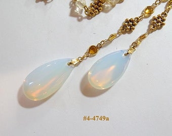 FREE SHIP Necklace Ending In 2 Large Fire Opals (4-4749)