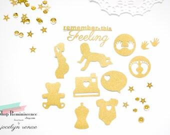 Gold Glitter Baby Scrapbook Embellishments, Baby Embellishments, Baby Theme, Pregnancy Theme