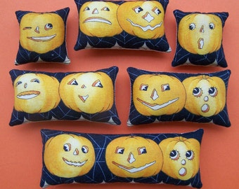 Set of 6 Primitive Retro Halloween Pumpkin Ornies Tucks Shelf Sitters Handmade Teacher Mom Gift Grungy