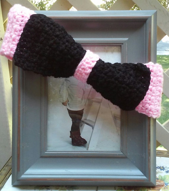 Headband, in Pretty Pink with Black Bow