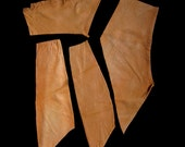 Sand Leather Pieces, 4 Remnants, Antiqued & Aged, Soft and Supple, Genuine Hide, Eco Friendly, Crafts, Sewing, DIY Projects, Free Shipping