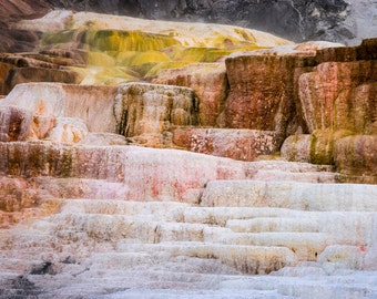 Yellowstone Mammoth Hot Springs Nature Abstract Landscape Photo Montana Yellow Landscape Wyoming Wall Art nat150