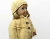 Doll Sweater, Knit Doll Clothes, 18 Inch Doll Sweater and Hat Set