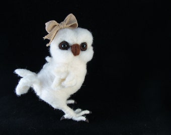 Snowy Owl Needle felted Bird Animal Needle Felted Soft Sculpture by Bella McBride