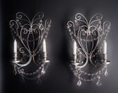 PAIR 2 Downtown Getaway Candle Wall Sconces in Antiqued Silver Set of 2 MADE To ORDER