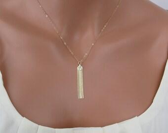 Gold tassel necklace - Long Gold tassel necklace - Layering necklace - Gold filled tassel necklace - Simple necklace - WM111