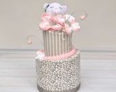 Diaper Cake, Pink and Gray Diaper Cake, Baby Gift, Unique Baby Girl Gift, Bear Diaper Cake, Pink and Gray Baby Shower, Centerpiece or Decor
