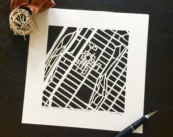 columbia university hand cut map or harvard, 10x10