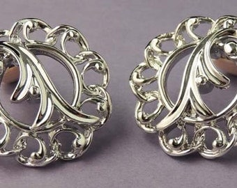 SARAH COVENTRY Vintage Fancy Free Silver Swirled Earrings Signed