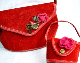 Vintage Matching Red Purses for Girl and Doll or Large and Small Doll