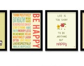 Digital Print Typography, Wall Art, Set of 4, Be Happy, typography art
