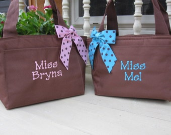 Monogrammed Coco Brown Insulated Lunch Bag Box Women Cooler Personalized