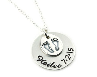 Baby Feet Charm with Name and Date - Sterling Silver Personalized Handstamped Jewelry