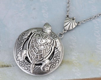 silver locket, turtle locket,  UNDER THE SEA, silver turtle floral locket necklace antiqued silver