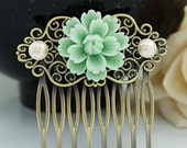 Vintage Style Mint Sakura Flower Bridal Hair Comb Vintage Wedding Hair Comb Bridesmaids Gift Wedding Hair Comb Bridal Hair Accessories