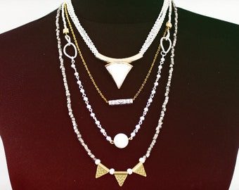 ON SALE Silver and Gold Multilayer Spike Modern Layered Chain Necklace
