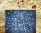 Personalized Star Name Painting- Original Watercolor Illustration- Constellation- Custom Word Art- Made To Order- 9x12- Watercolour- Jacob