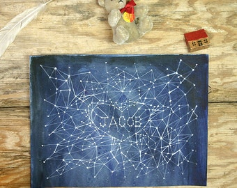 Custom Constellation Painting- Original Watercolor Illustration- Word Art- Made To Order- 9x12- Watercolour- Jacob