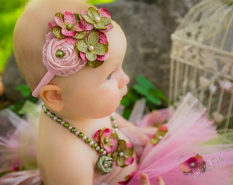 Hydrangea Fabric Rosette Flowers Headband, Little Baby Girl Toddler Light Pink Sage Green First Birthday Outfit Photo Prop Lace Beads Garden