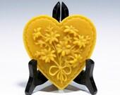 Beeswax Daisey Heart Heart Ornament Beeswax Ornament Beeswax Heart Ornament Springerle Heart Valentines Heart