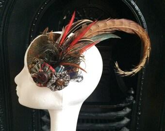 Scottish Highland Wool Harris Tweed Tartan Fascinator Hairpiece