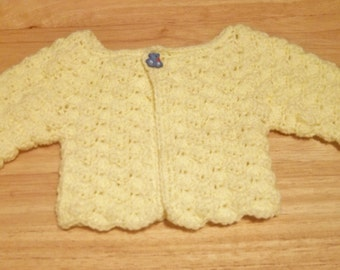 Sweater - Crochet Baby Sweater with Front Button - Yellow - New Born Baby