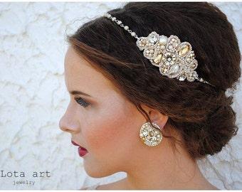 Vintage beaded headband - Galadriel-ivory or white- wedding headband- prom headband