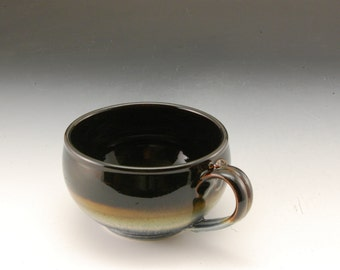 Soup Bowl Handmade Porcelain Pottery Blue and Ebony Brown by Mark Hudak
