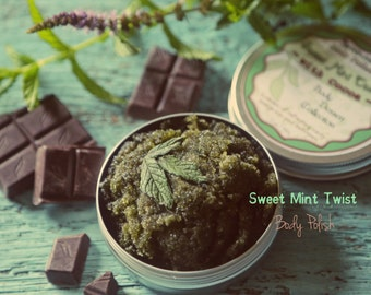 Sweet Mint Twist Face and Body Polish. Cooling Chocolate Mint organic natural scrub from Body Desserts collection 5 oz