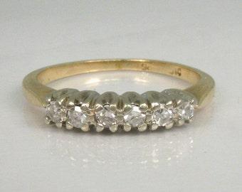 Fine Vintage Single Cut Diamond Wedding Band