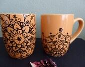 Hand drawing mandala mugs- set of 2 ,original drawing cup,tea coffee mug