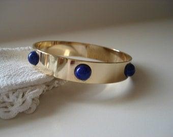 SALE Vintage Lapis Lazuli Czech Glass 8 Inch Gold Bangle Bracelet Mid Century Classic