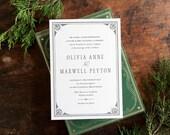 Formal Wedding Invitation, Vintage Wedding Invitation, Letterpress Wedding Invitation, Elegant Wedding Invitation, Wedding Invitation Suite