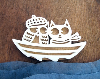 Snowy Owl & the Pussy Cat Brooch