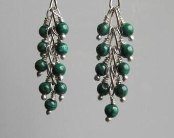 Malachite Cluster Earrings