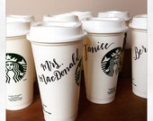 Custom Hand Lettered Starbucks Reusable Cup - One plastic cup with lid.