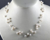 Illusion Necklace Floating Necklace White Cultured Pearl
