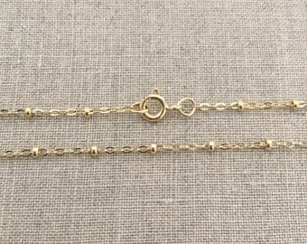 "18"" Gold Filled Satellite Chain - 1.3mm - 18 Inch Gold Filled Chain - Gold Dew Drop Necklace - Satellite Chain - 18"" Gold Bead Chain"