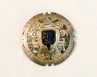 Aztec Sun Stone- Sterling Silver Pin Pendant Brooch - Onyx - Abalone Shell Inlay - Mexico Pre Eagle - Signed Vintage