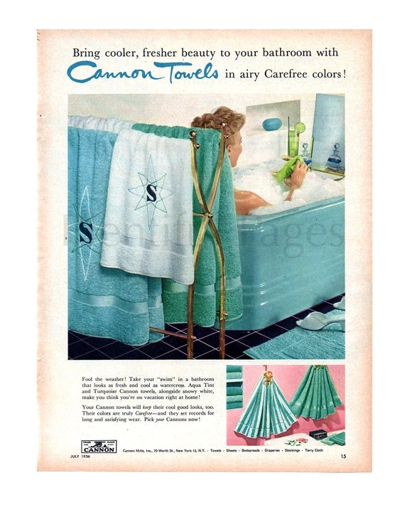 1956 Cannon Towels Vintage Ad 1950's Housewife
