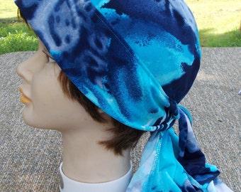 HANDMADE Blue Animal Print STRETCH Jersey Knit DooRag Womens Biker Chemo Yoga