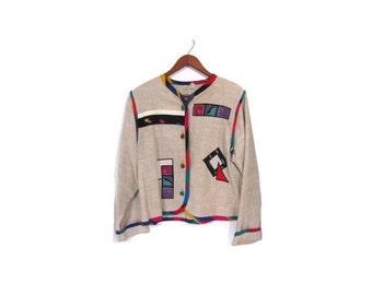 BTS SALE Vintage 80s Colorful Abstract Button Up Linen Blazer Jacket m l